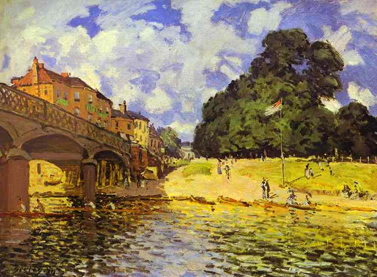 """Alfred Sisley: """"Puente en Hampton Court"""" (1874). Colonia."""