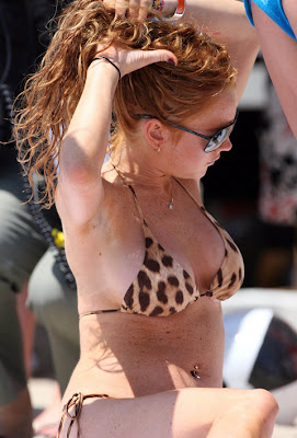 bikini Lohan leopard