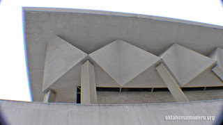 The distinctive roof supports of the Civic Center building.