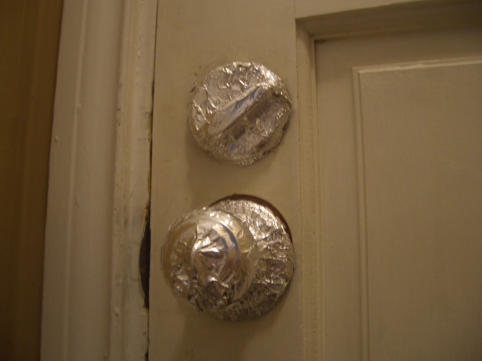 Unique uses foil on door knobs
