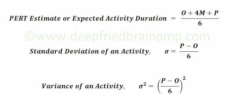 Formula for PERT, Standard Deviation and Variance for Duration Estimate