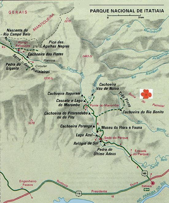 Mapa do Parque Nacional de Itatiaia