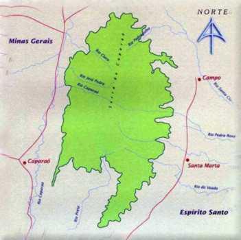 Mapa do Parque Nacional do Caparaó entre Minas Gerais e Espírito Santo