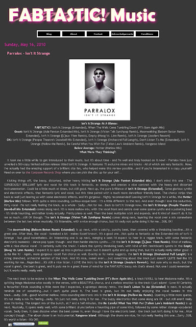 Excellent review of Parralox - Isn't it Strange (CD) on the Fabtastic Blog!