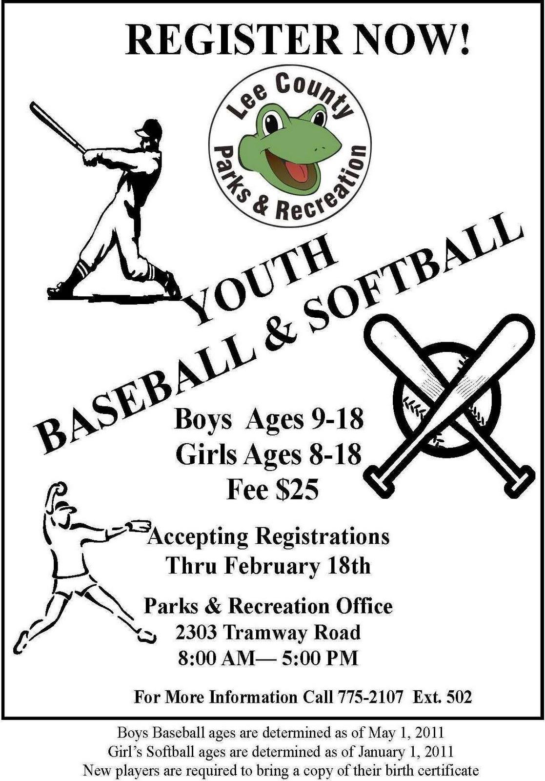 Lee County Government: 2011 Youth Baseball & Softball