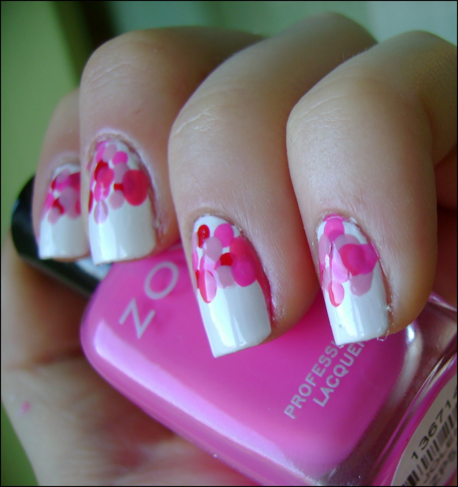 acrylic nail art designs: Pink dots (Valentine's Day ...