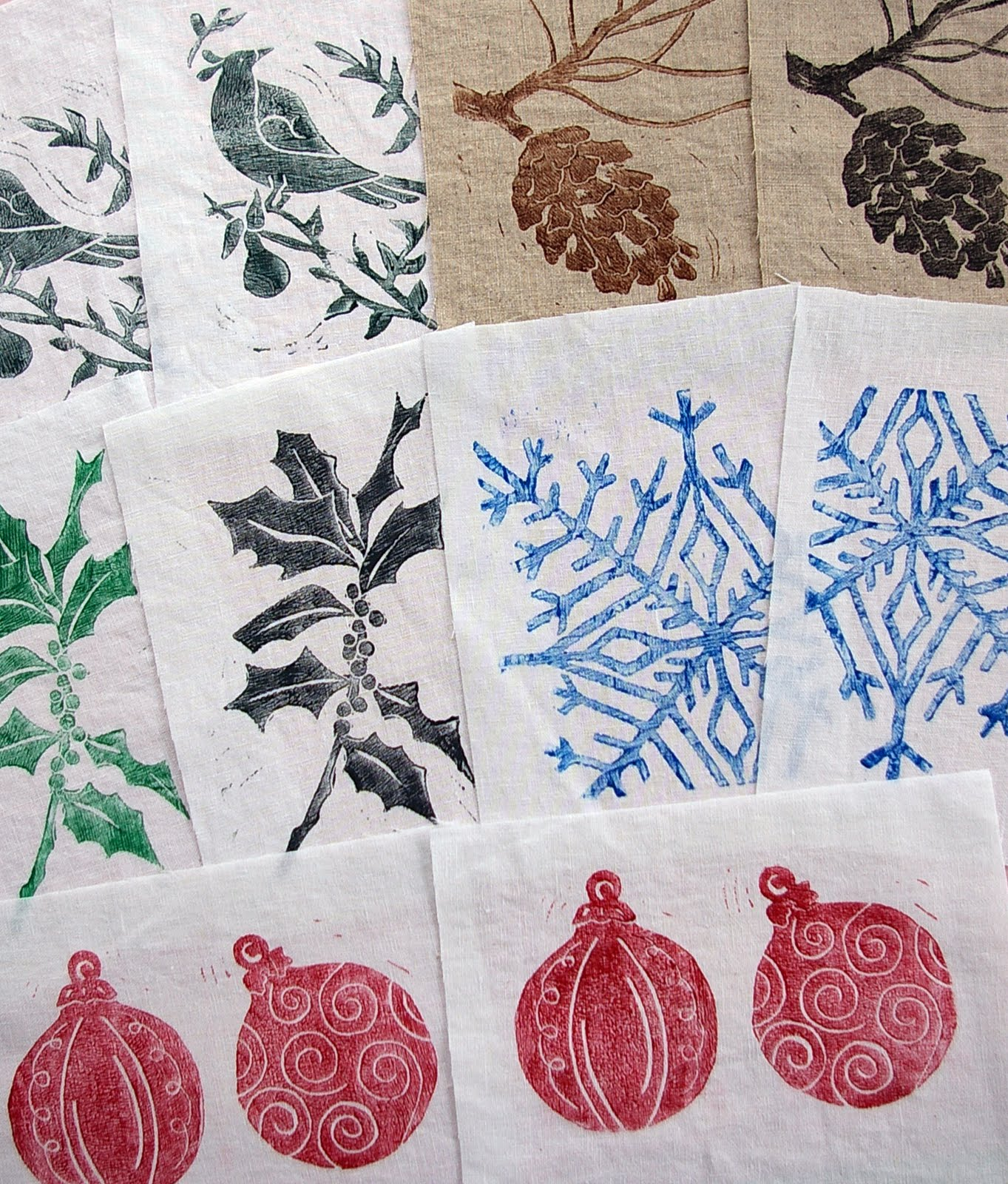 christmas linocuts on fabric this time  during quiet time