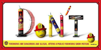 LAFD Anti-Fireworks Display Banner