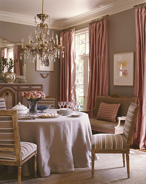 Lindau0027s Pick (and Megan And Joni) For Her Favorite Room In The Book Is This  Dining Room   Located In Suzanneu0027s Former House. The Pink Taffeta Curtains  Are ...