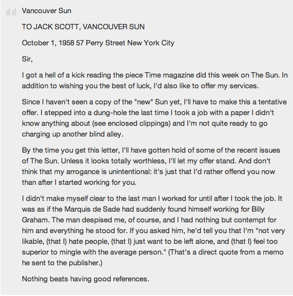 Oh Hunter S Thompson How I Wish You Were Still Alive And Could Be My Friend Do Think This Cover Letter Would Fly Today