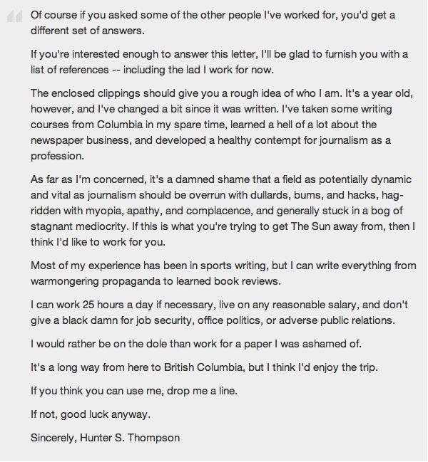Hunter S Thompson Cover Letter