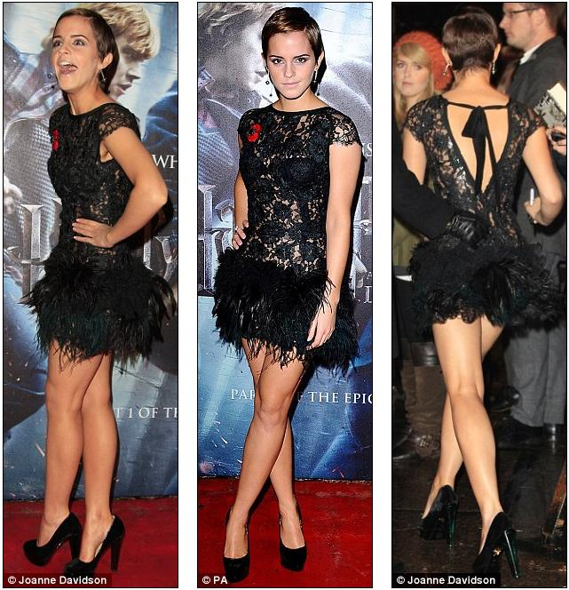 98f65be689 Simply charming  Emma Watson looked immaculate in a vintage black lace dress