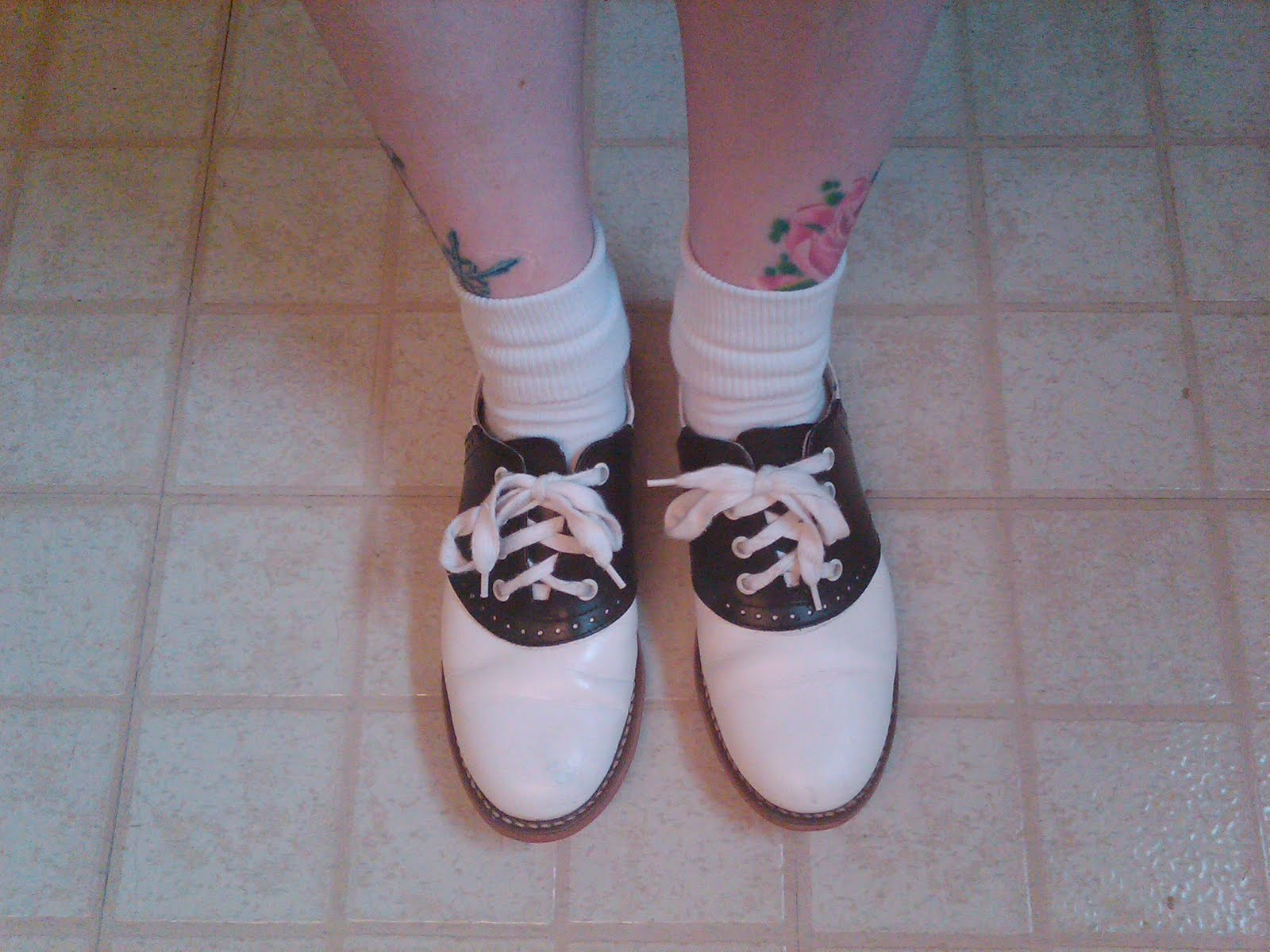 Here is me, wearing a pair of black and white saddle shoes I bought from  Muffys.com in 1999! I think I paid around $80.00 USD. These were vintage  50s ...