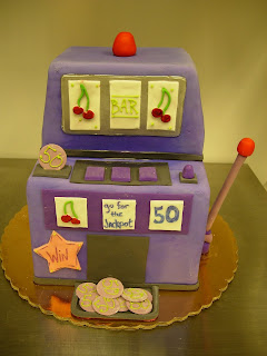 For All Gamblers Out There We Created This Slot Machine Cake In The Favorite Colors Of Birthday Girl Purple Client Was From Long Island NY But