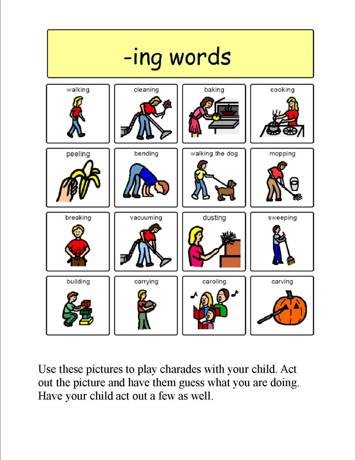 verb picture cards printable  liz s speech therapy ideas