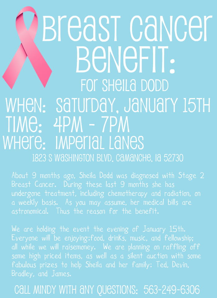 benefit for sheila dodd  breast cancer benefit flyer