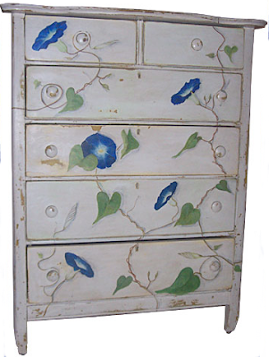 dresser with painting of morning glories