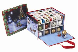 zippered ornament bin with [icture of snowman, Christmas tree, etc.