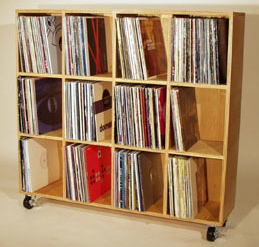 large record shelf on casters