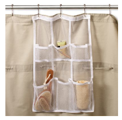 Mesh Organizer Hanging From Shower Curtain Rod