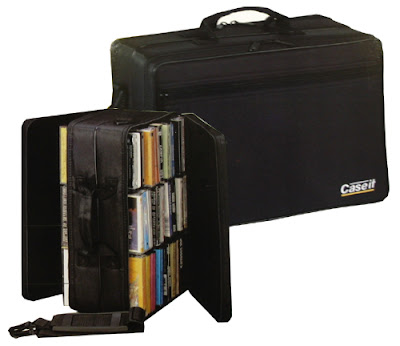 cassette tape carrying case (open and closed) with tapes inside