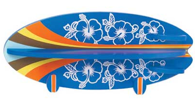 surfboard wall shelf, mostly blue, flowers