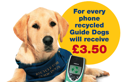 poster about recycling mobile phones to benefit guide dogs, with picture of cute dog