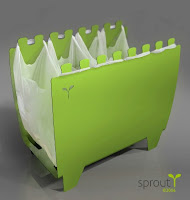 binvention - used to hold plastic shopping bags so the bags can hold recyclables