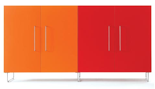 cabinet from Cappellini in red and orange