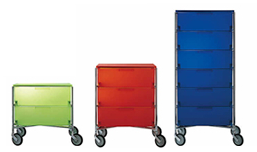 mobile drawers in green, red and blue from Kartell at Apartment Zero