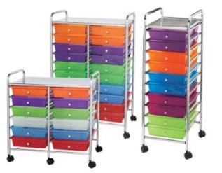organizer carts with trays in a rainbow of colors