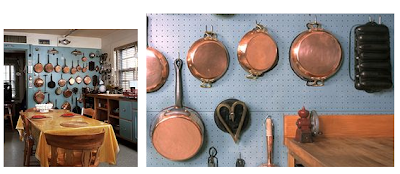 pans hanging on the wall in Julia Child's kitchen