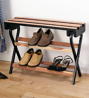 foldable cedar bench and shoe rack