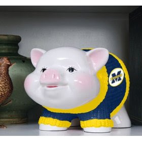 piggy bank with University of Michigan sweater