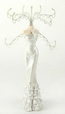 jewelry mannequin in white gown
