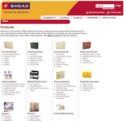 Smead products web page