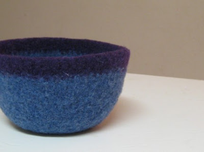 blue felted bowl