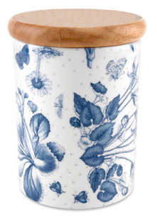 storage jar, white with blue flowers