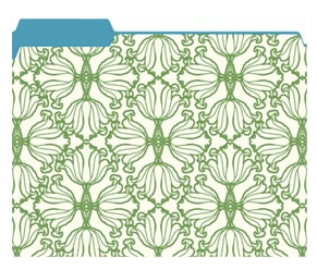 file folder with green and white pattern