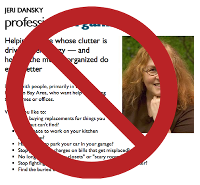 Jeri Dansky, Professional Organizer web site, with universal 'no' symbol imposed on top