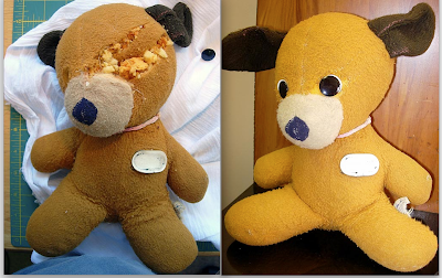 before and after - stuffed animal repair