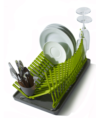 collapsible dish drainer, green