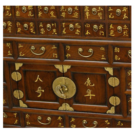 close-up of Chinese medicine chest