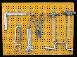 miniature dollhouse pegboard with tools