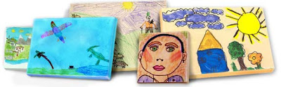 five canvases with children's art