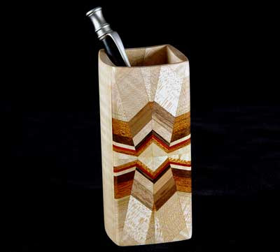 pencil cup from maple plus a number of other woods for the design