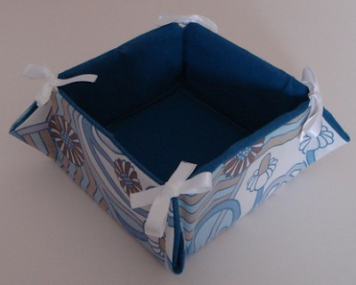 fabric box in blue and white pattern