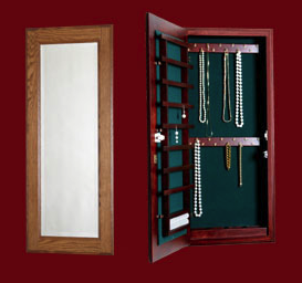 wall-mounted jewelry cabinet with mirror outside, shown open and closed