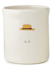 white pencil cup - says Dad and has a picture of a hat