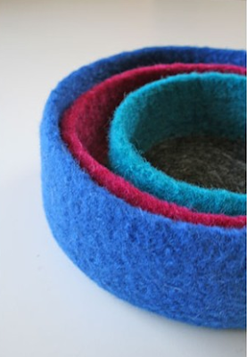 3 nesting felted bowls in blue, red, and turquoise